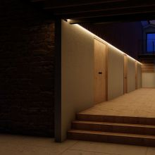Strip lighting showing you the way to the bedrooms