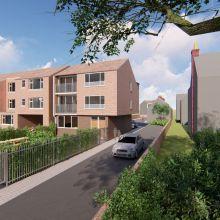 Driving toward the new residential development