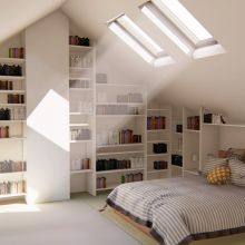 Standing in the loft seeing the light streaming in from the rooflights over the bed