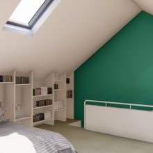 The stairs come up into the middle of the space with the wardrobes and en suite on one side