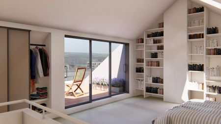 Standing at the top of the stairs, bed, cupboards, shelving and the roof terrace are visible